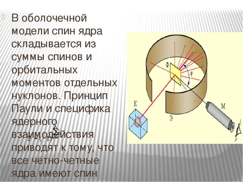 В оболочечной модели спин ядра складывается из суммы спинов и орбитальных мом...
