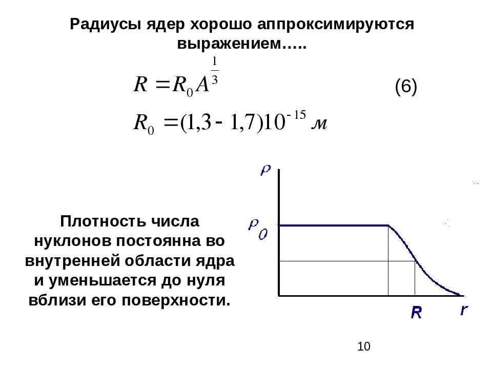 Радиусы ядер хорошо аппроксимируются выражением….. Плотность числа нуклонов п...