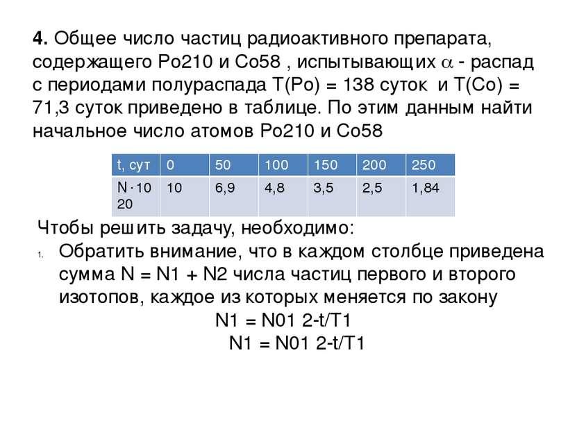 4. Общее число частиц радиоактивного препарата, содержащего Po210 и Co58 , ис...
