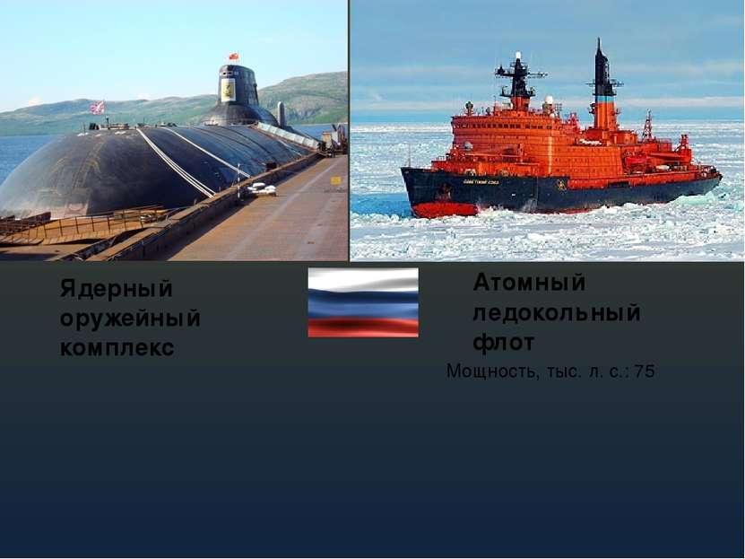 Ядерный оружейный комплекс Атомный ледокольный флот Мощность, тыс. л. с.: 75