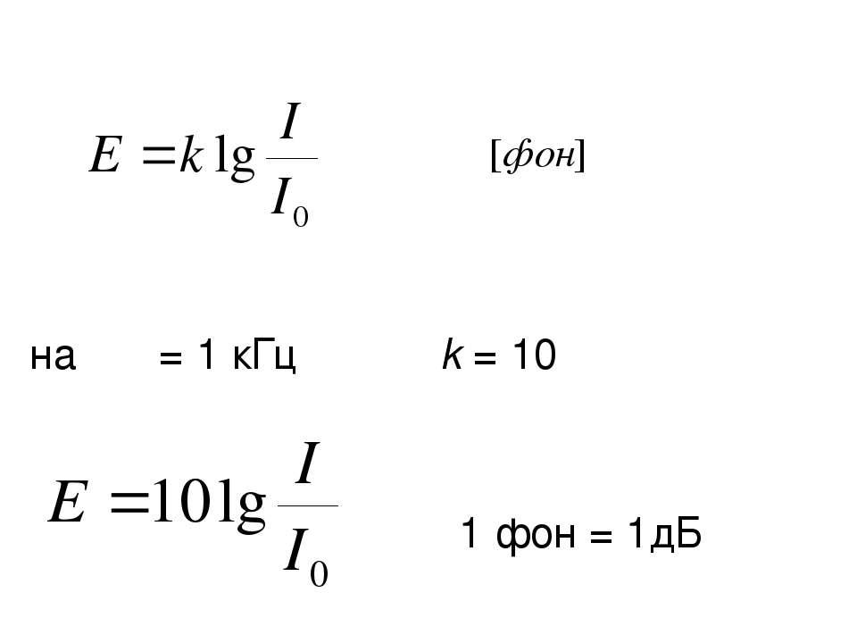 на ν = 1 кГц k = 10 1 фон = 1дБ
