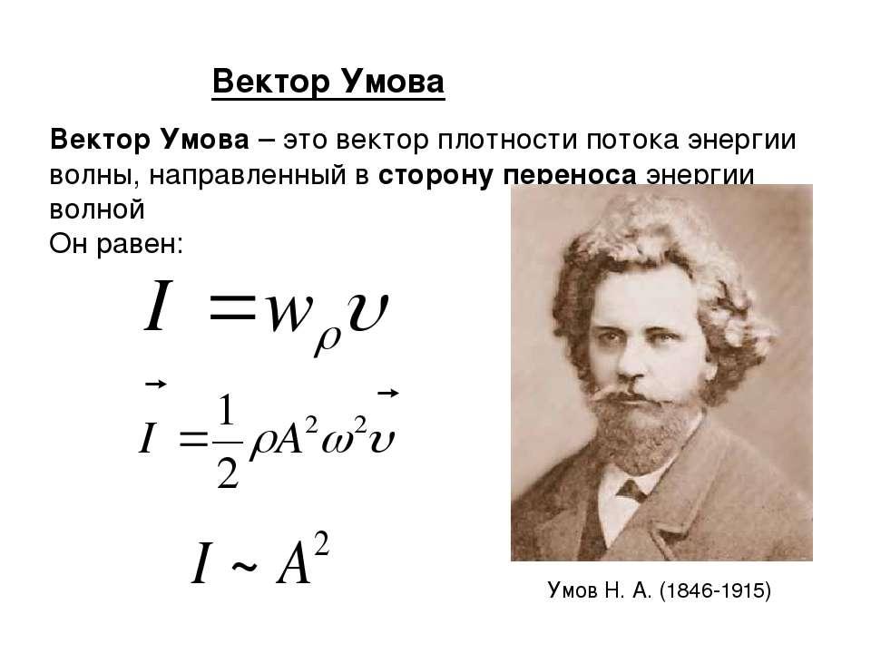 Вектор Умова Вектор Умова – это вектор плотности потока энергии волны, направ...