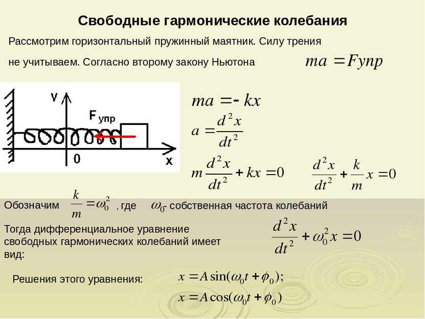 Свободные гармонические колебания Рассмотрим горизонтальный пружинный маятник...