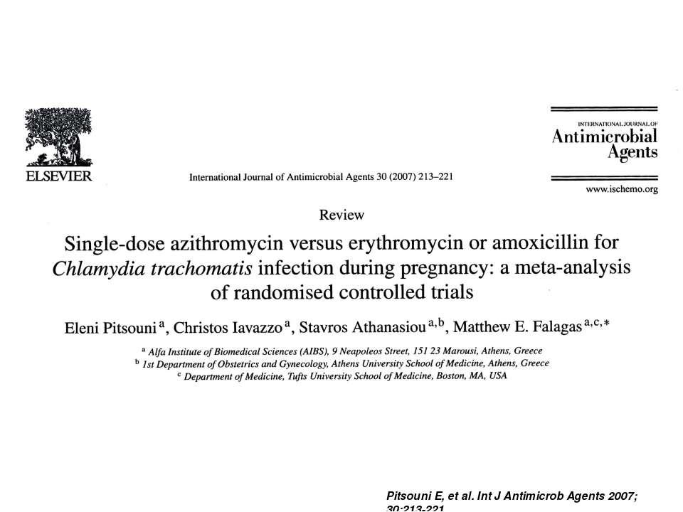 Pitsouni E, et al. Int J Antimicrob Agents 2007; 30:213-221