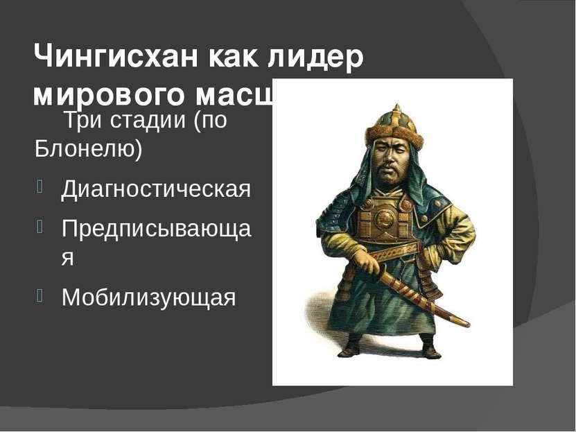 Чингисхан как лидер мирового масштаба Три стадии (по Блонелю) Диагностическая...