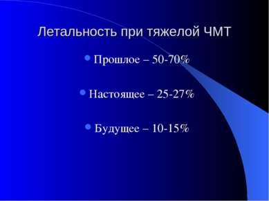 Летальность при тяжелой ЧМТ Прошлое – 50-70% Настоящее – 25-27% Будущее – 10-15%