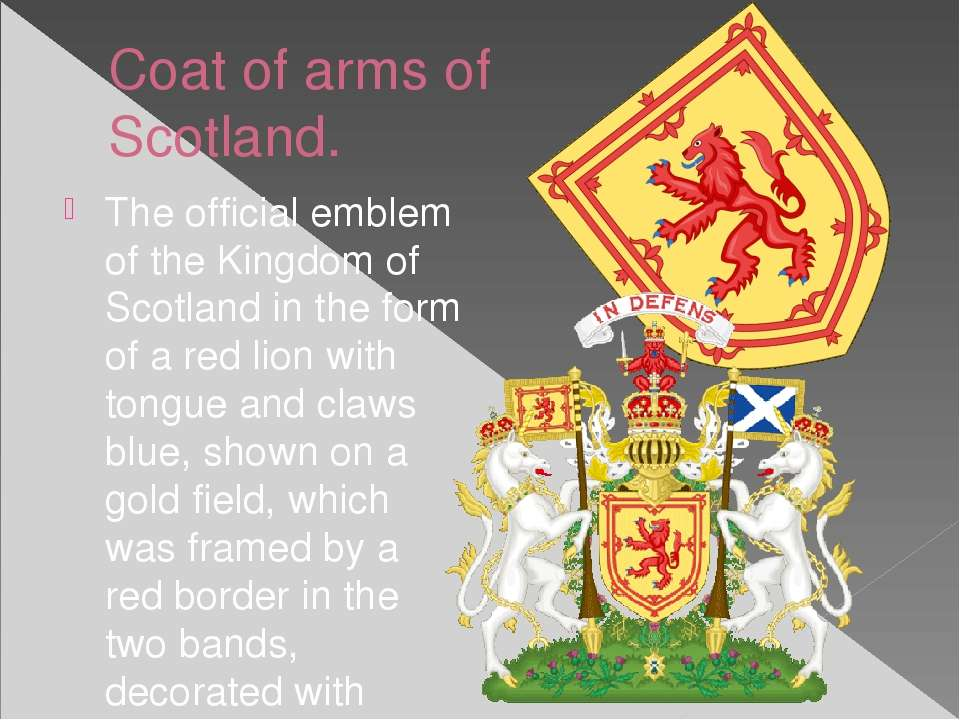 Сoat of arms of Scotland. The official emblem of the Kingdom of Scotland in t...
