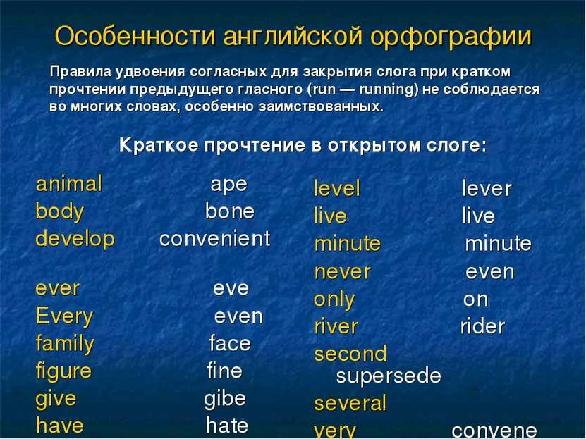 Особенности английской орфографии animal ape body bone develop convenient eve...