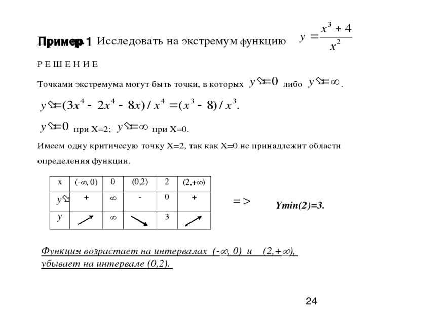 Ymin(2)=3. Функция возрастает на интервалах (- , 0) и (2,+ ), убывает на инте...