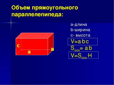 Объем прямоугольного параллелепипеда: а-длина b-ширина с- высота V=a.b.c Sосн...