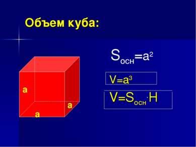 Объем куба: V=a3 V=Sосн.H Sосн=a2