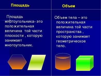 Площадь Площадь многоугольника- это положительная величина той части плоскост...