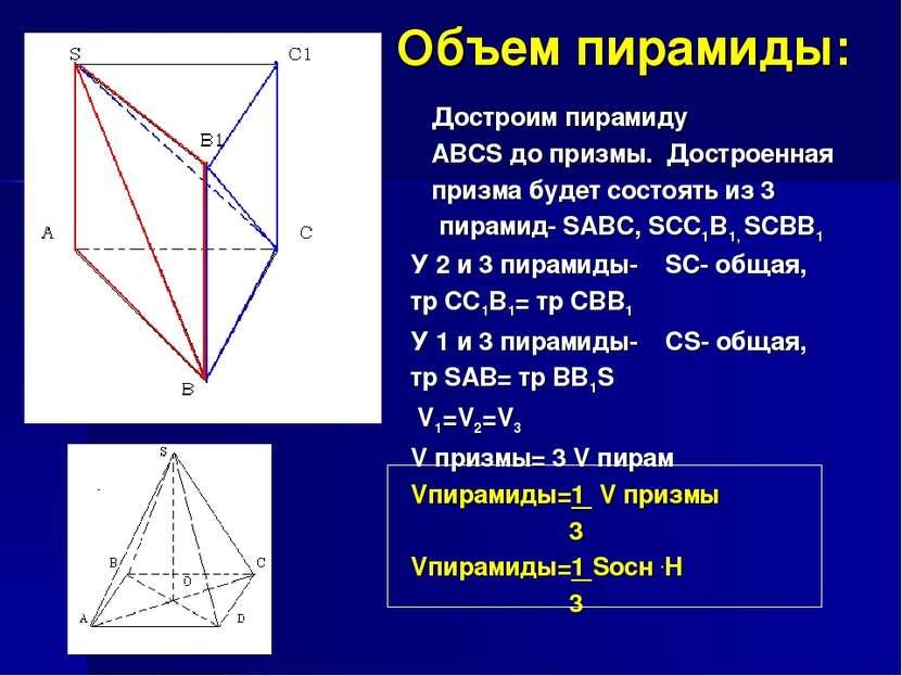 Объем пирамиды: У 2 и 3 пирамиды- SC- общая, тр CC1B1= тр CBB1 У 1 и 3 пирами...