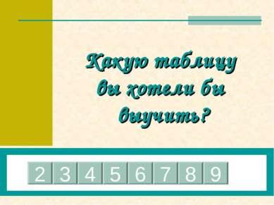 Какую таблицу вы хотели бы выучить? 2 3 4 5 6 7 8 9