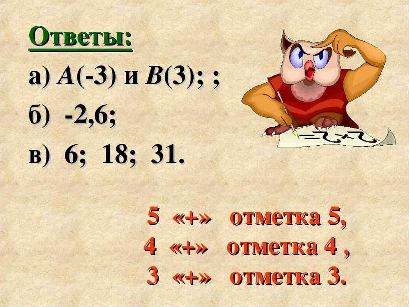 5 «+» отметка 5, 4 «+» отметка 4 , 3 «+» отметка 3. Ответы: а) А(-3) и В(3); ...