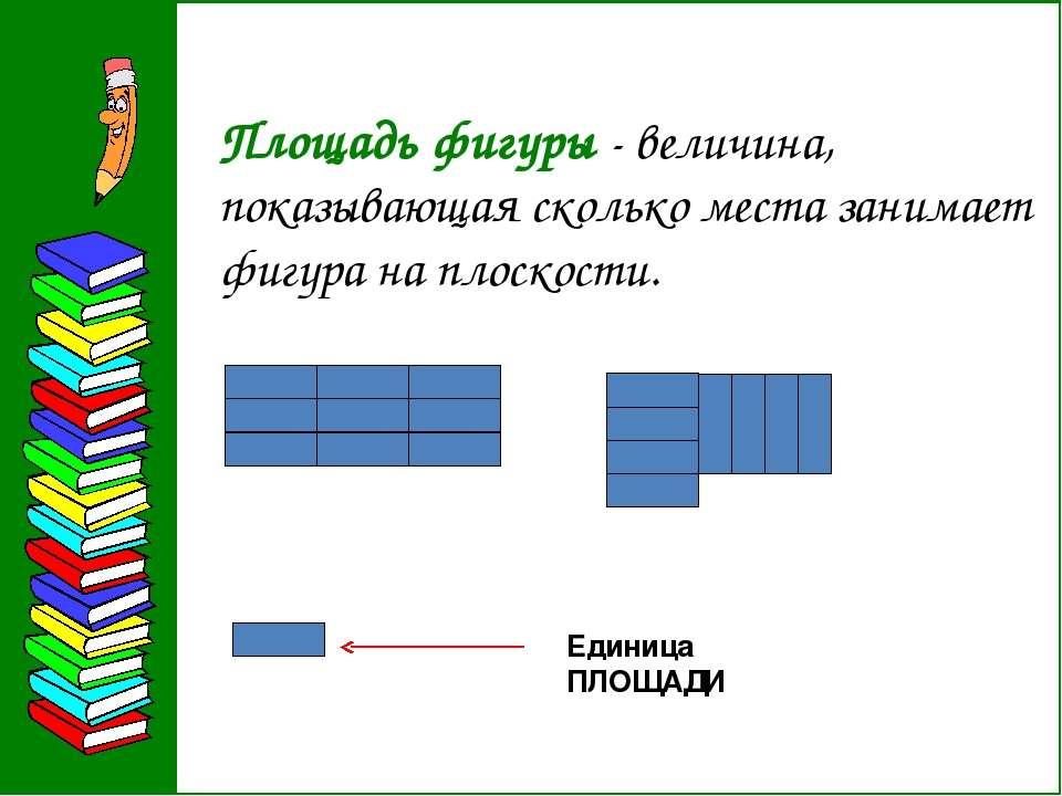 Площадь фигуры - величина, показывающая сколько места занимает фигура на плос...