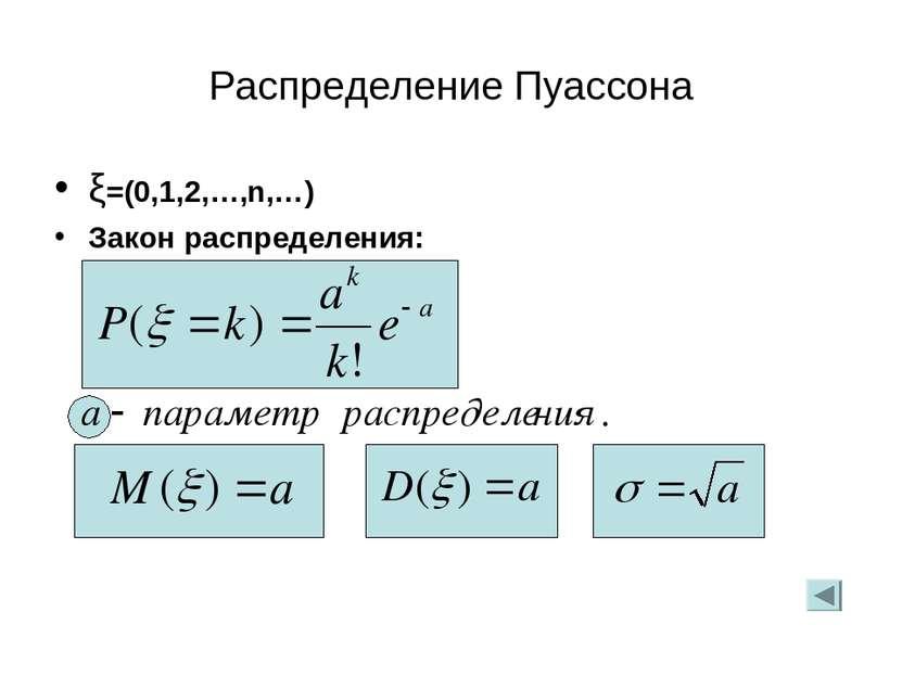 Распределение Пуассона ξ=(0,1,2,…,n,…) Закон распределения: