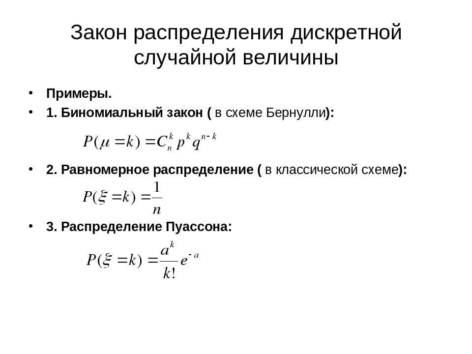 Закон распределения дискретной случайной величины Примеры. 1. Биномиальный за...