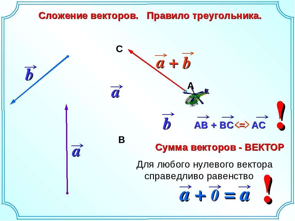 Сложение векторов. Правило треугольника. b А В С ! ! Для любого нулевого вект...
