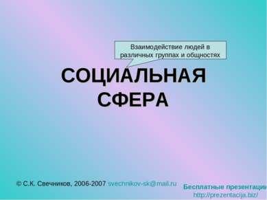 СОЦИАЛЬНАЯ СФЕРА © С.К. Свечников, 2006-2007 svechnikov-sk@mail.ru Взаимодейс...