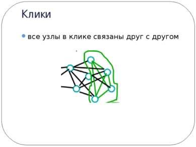 Клики все узлы в клике связаны друг с другом