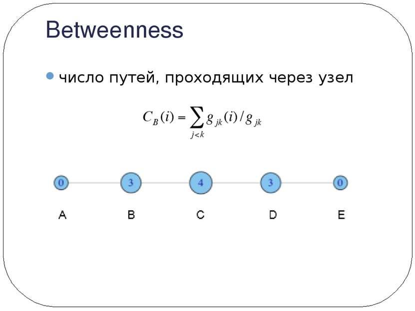 Betweenness число путей, проходящих через узел