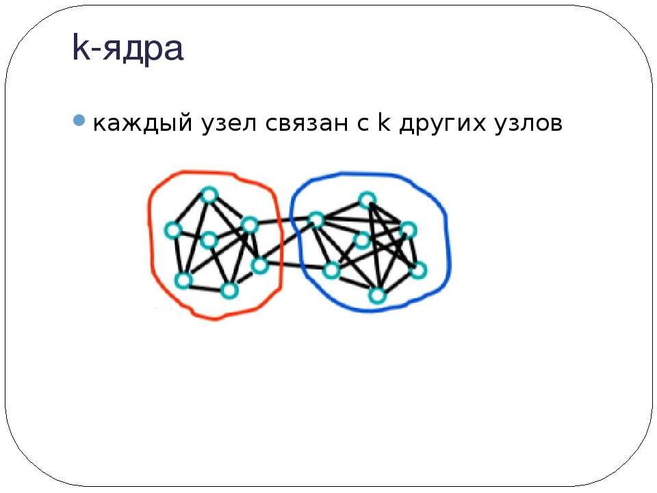 k-ядра каждый узел связан с k других узлов