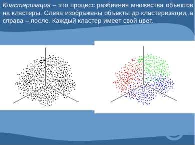 Кластеризация – это процесс разбиения множества объектов на кластеры. Слева и...