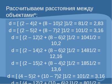 Рассчитываем расстояния между объектами*: d = [ (2 – 4)2 + (8 – 10)2 ]1/2 = 8...