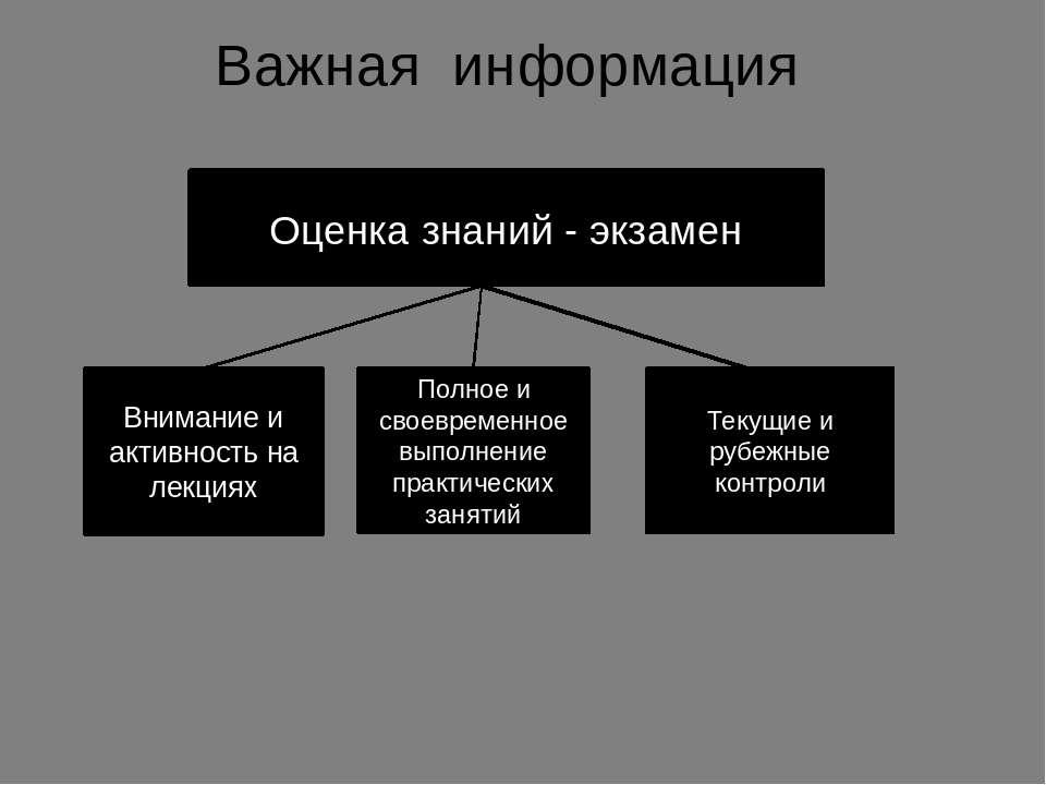 Важная информация Оценка знаний - экзамен Внимание и активность на лекциях По...