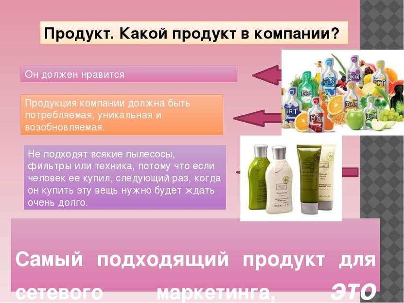 Самый подходящий продукт для сетевого маркетинга, это косметика и БАДы. Проду...