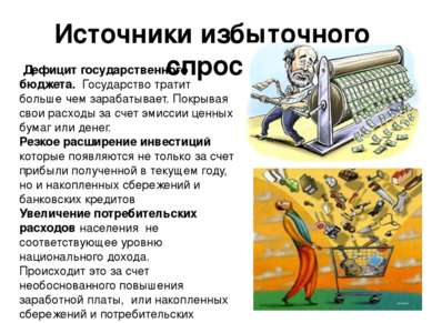 Источники избыточного спроса Дефицит государственного бюджета. Государство тр...