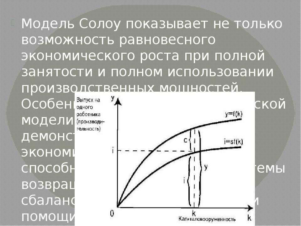Модель Солоу показывает не только возможность равновесного экономического рос...