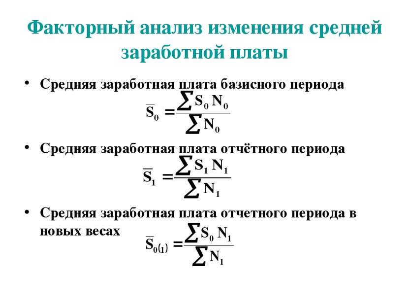 Факторный анализ изменения средней заработной платы Средняя заработная плата ...