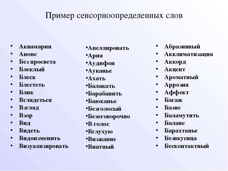 Пример сенсорноопределенных слов Аквамарин Анонс Без просвета Блеклый Блеск Б...