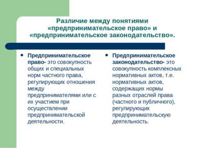 Различие между понятиями «предпринимательское право» и «предпринимательское з...