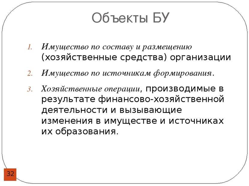 Объекты БУ Имущество по составу и размещению (хозяйственные средства) организ...
