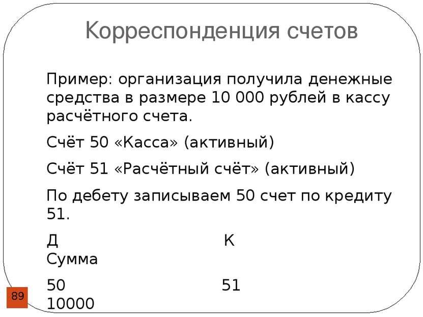 Корреспонденция счетов Пример: организация получила денежные средства в разме...
