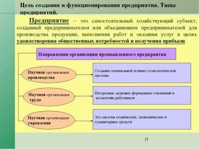 Цель создания и функционирования предприятия. Типы предприятий. Предприятие –...