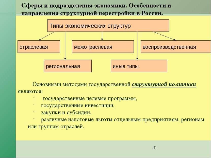 Сферы и подразделения экономики. Особенности и направления структурной перест...
