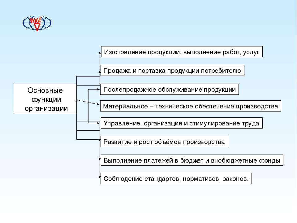 Основные функции организации Изготовление продукции, выполнение работ, услуг ...