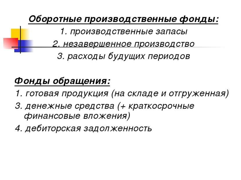 Оборотные производственные фонды: 1. производственные запасы 2. незавершенное...