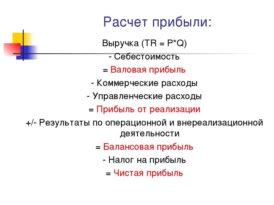 Расчет прибыли: Выручка (TR = P*Q) - Себестоимость = Валовая прибыль - Коммер...