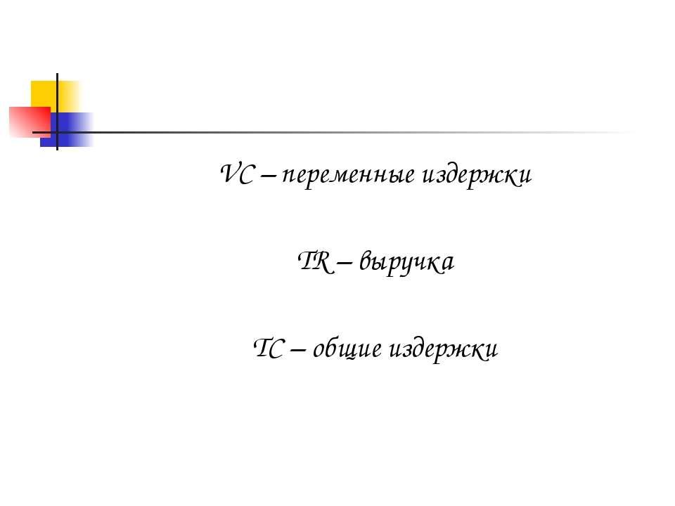 VC – переменные издержки TR – выручка TC – общие издержки