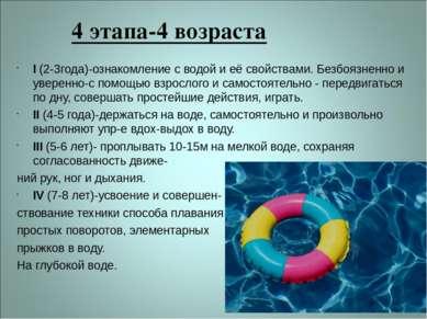 4 этапа-4 возраста I (2-3года)-ознакомление с водой и её свойствами. Безбоязн...