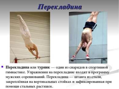Перекладина Перекладина или турник— один из снарядов в спортивной гимнастике...
