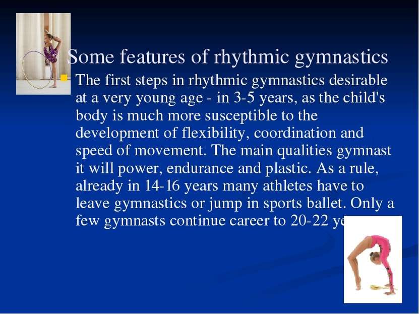 Some features of rhythmic gymnastics The first steps in rhythmic gymnastics d...