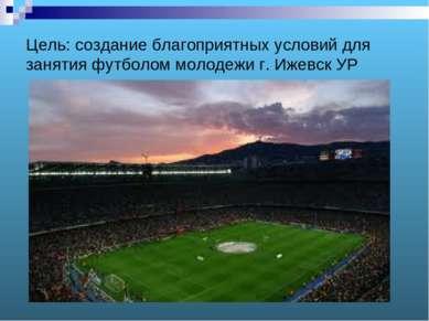 Цель: создание благоприятных условий для занятия футболом молодежи г. Ижевск УР