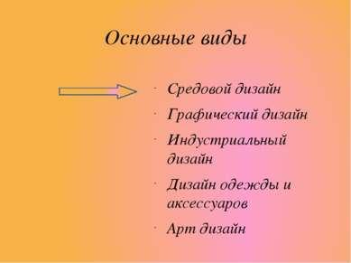 Основные виды Средовой дизайн Графический дизайн Индустриальный дизайн Дизайн...