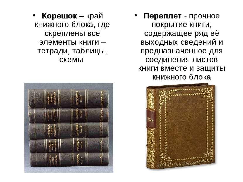 Корешок – край книжного блока, где скреплены все элементы книги – тетради, та...